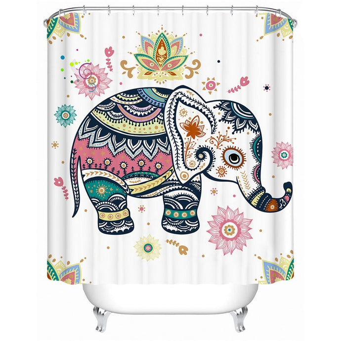 Rainbow Elephant Shower Curtain