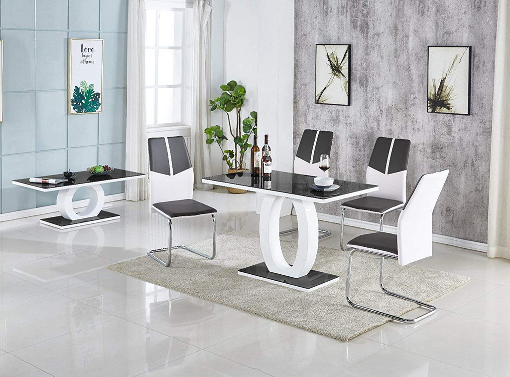 Enjoyable Giulia White Gloss Black Top Tempered Glass Dining Table Black White Mixed Faux Leather Dining Chairs Grey Table Only Caraccident5 Cool Chair Designs And Ideas Caraccident5Info