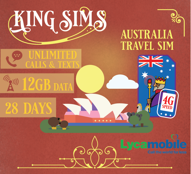 Australia 4G Travel Sim Card 12GB Data Unlimited Calls & Texts, Lyca Mobile - King Sims
