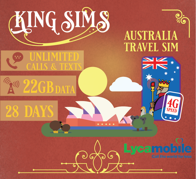 Australia 4G Travel Sim Card 22GB Data Unlimited Calls & Texts, Lyca Mobile - King Sims