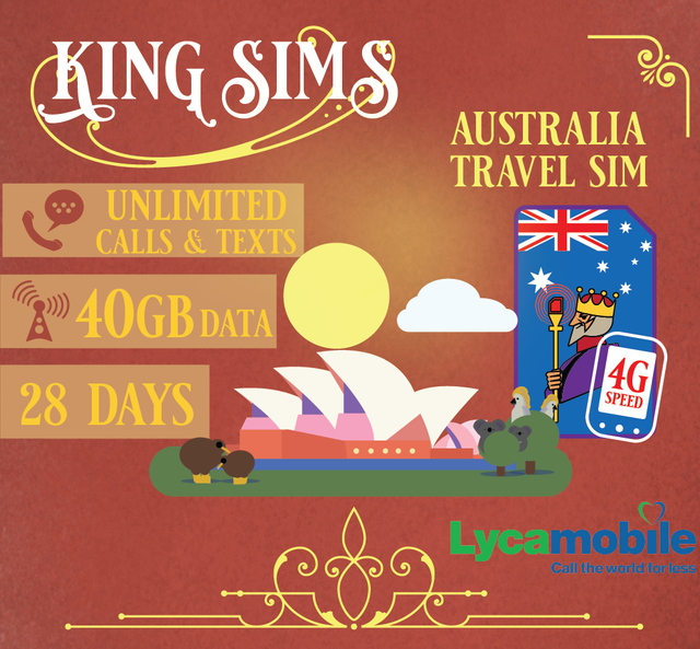 Australia 4G Travel Sim Card 40GB Data Unlimited Calls & Texts, Lyca Mobile - King Sims