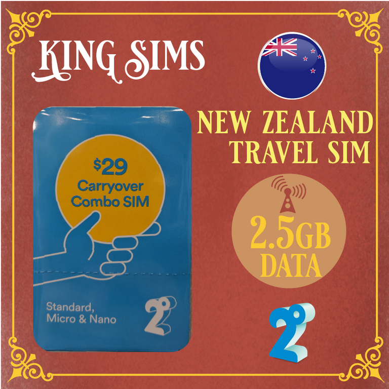 New Zealand 4G Travel Sim Card | 2.5GB Data | 2 Degrees, 2 Degrees - King Sims
