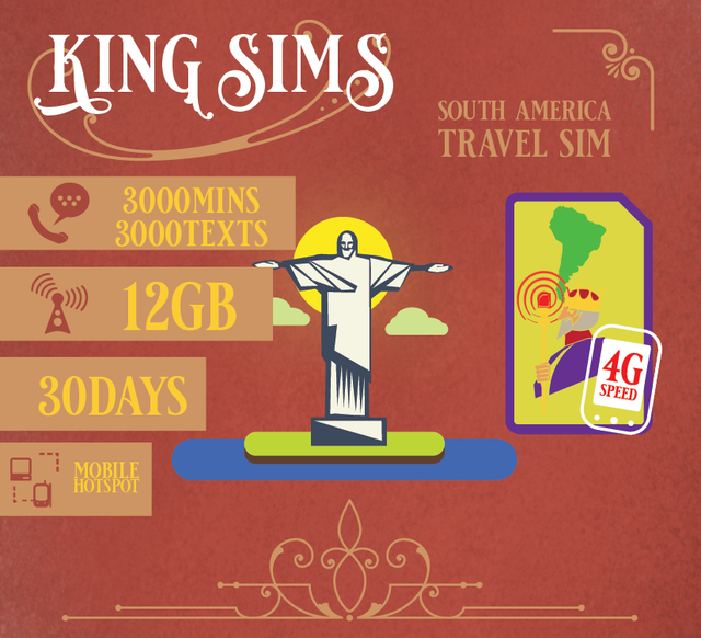 South America | 3.5G 12GB | Data SIM Card, Three - King Sims