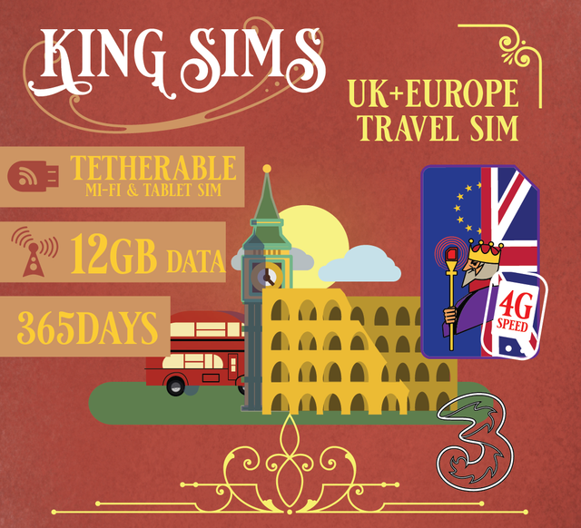 Europe 3G/4G Mi-Fi & Tablet Travel Sim Card 12GB Data + 365 Days  THREE UK, Three - King Sims