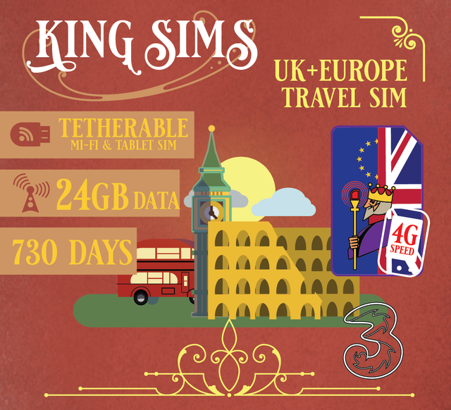 Europe 3G/4G Mi-Fi & Tablet Travel Sim Card 24GB Data 720 Days or 2 Years | THREE UK, Three - King Sims