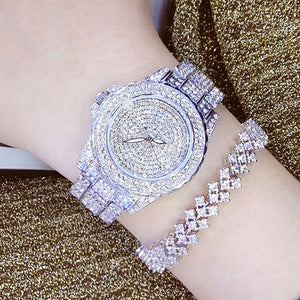 Rhinestone Rose Gold Leather Watch