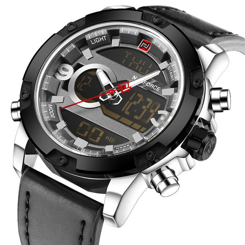 Analog Digital Leather Sports Watch