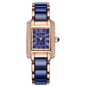 Blue Square Diamond Bracelet Watch