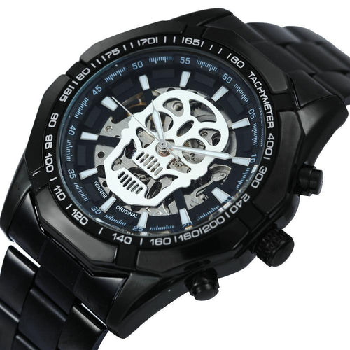 Black Stainless Steel Strap Mechanical Watch