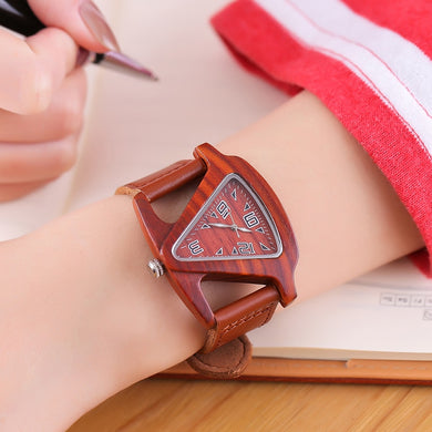Leather strap wooden watch.