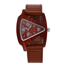 Load image into Gallery viewer, Leather strap wooden watch.