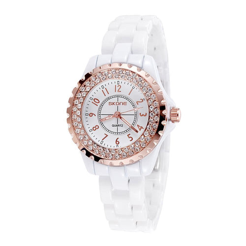 Rhinestone Waterproof Ceramic Watch