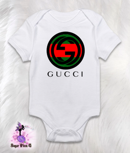 404936312 Designer Inspired Bodysuit | Round Red and Green Logo with Black Design |  Customizable Baby Clothing