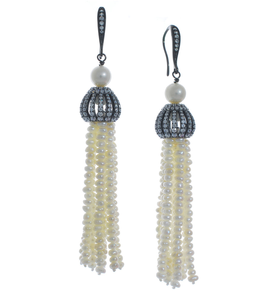 Antique Finish Pearl Tassel Earring