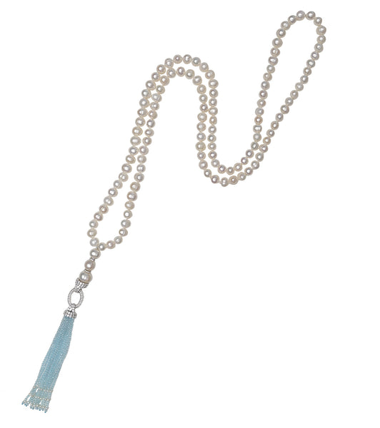 Topaz Blue Tassel Long Necklace
