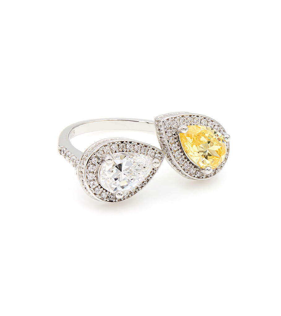Drop Shape Yellow Stone with Frame Ring