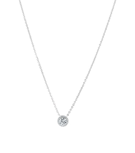 Round Halo Solitaire Necklace