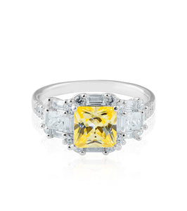 Square Cushion Cut Canary Ring