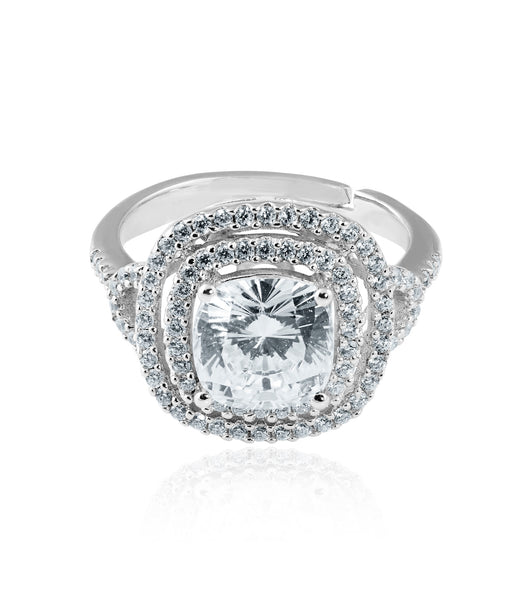 Double Halo Cushion Cut Ring
