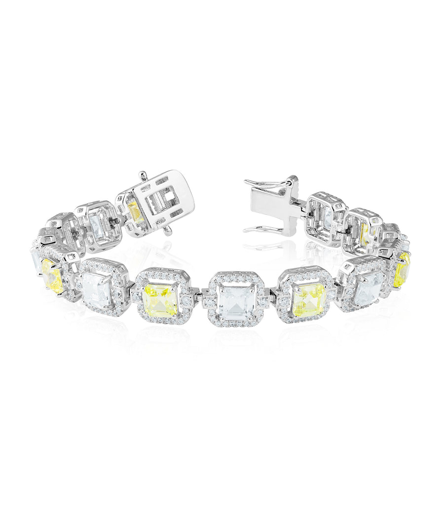 Rectangle Halo Canary Tennis Bracelet