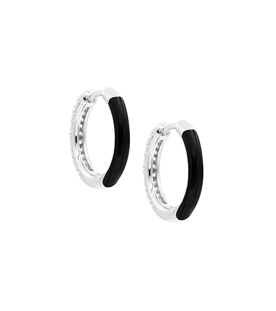 Black Enamel with CZ Hoop Earring