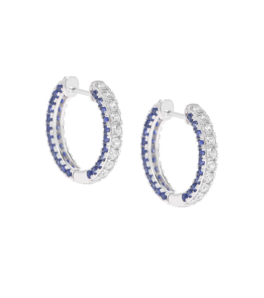 Blue Stripe Hoop Earrings