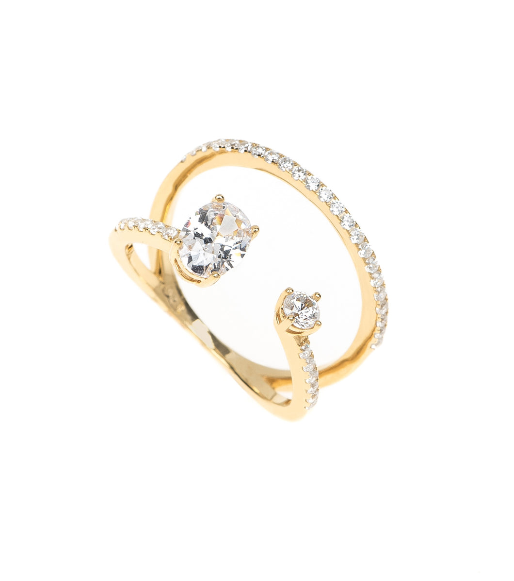 Double Row Ring with Oval CZ