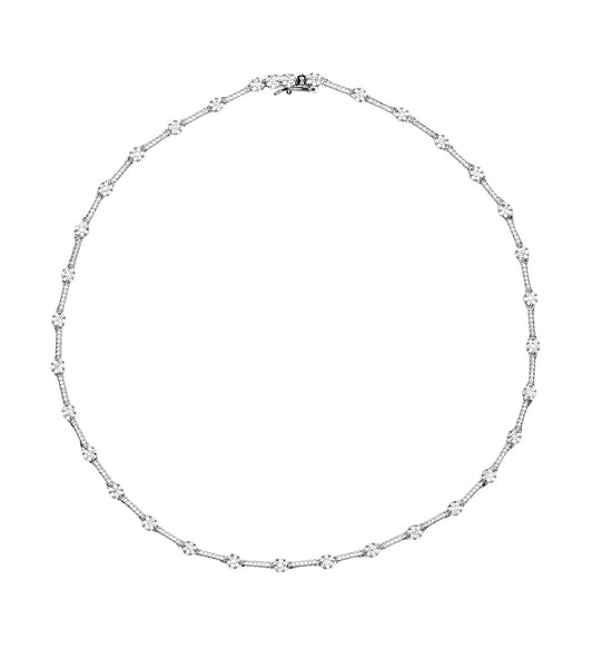 Round Stations Tennis Necklace