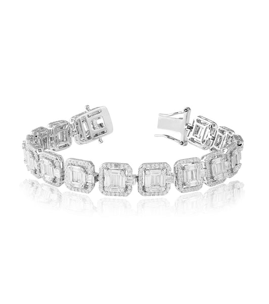 Square Halo Tennis Bracelet