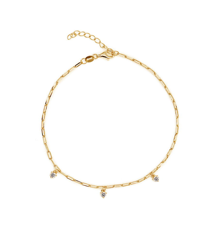 Chain Anklet with CZ Charms
