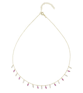 Colored Marquise Charms Necklace