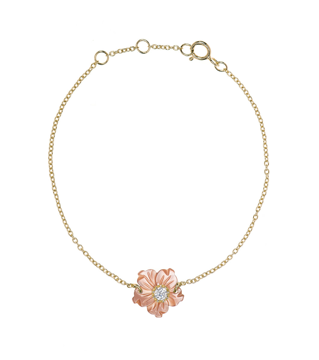Pink Mother of Pearl Flower Bracelet
