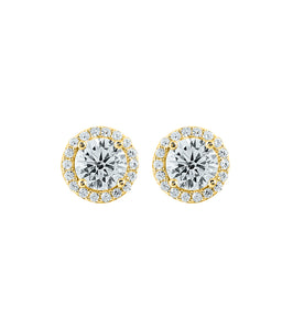 Round Halo Solitaire Studs
