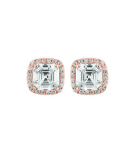 Load image into Gallery viewer, Square Halo Stud Earrings