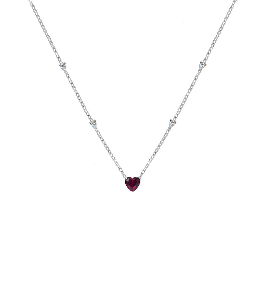 Red Heart Pendant with CZ Necklace