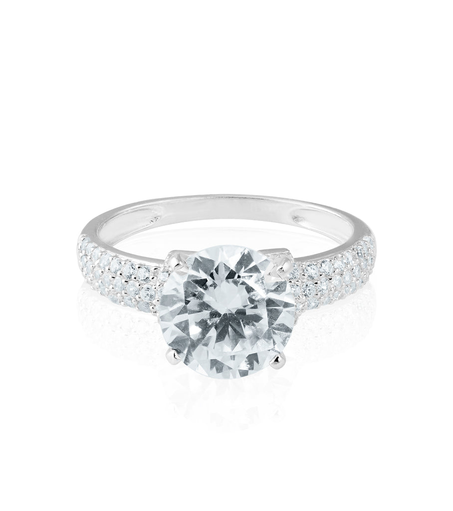 Wide Pave Band Solitaire Ring