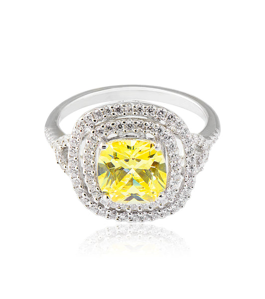Double Halo Canary Cushion Cut Ring