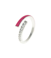 Load image into Gallery viewer, Hot Pink Rock Candy CZ Encrusted Enamel Ring