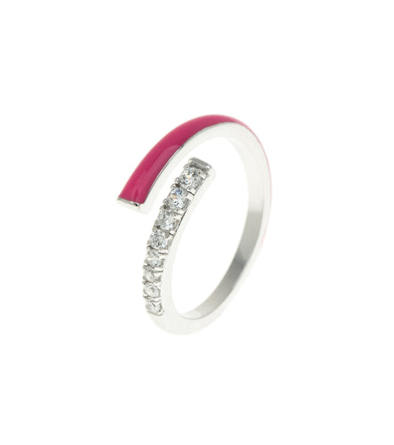 Hot Pink Rock Candy CZ Encrusted Enamel Ring