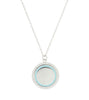 Engrave Blue Enamel Frame Big Coin Necklace