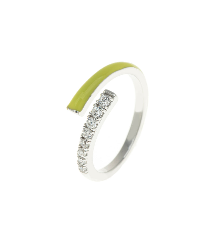 Neon Yellow Rock Candy CZ Encrusted Enamel Ring