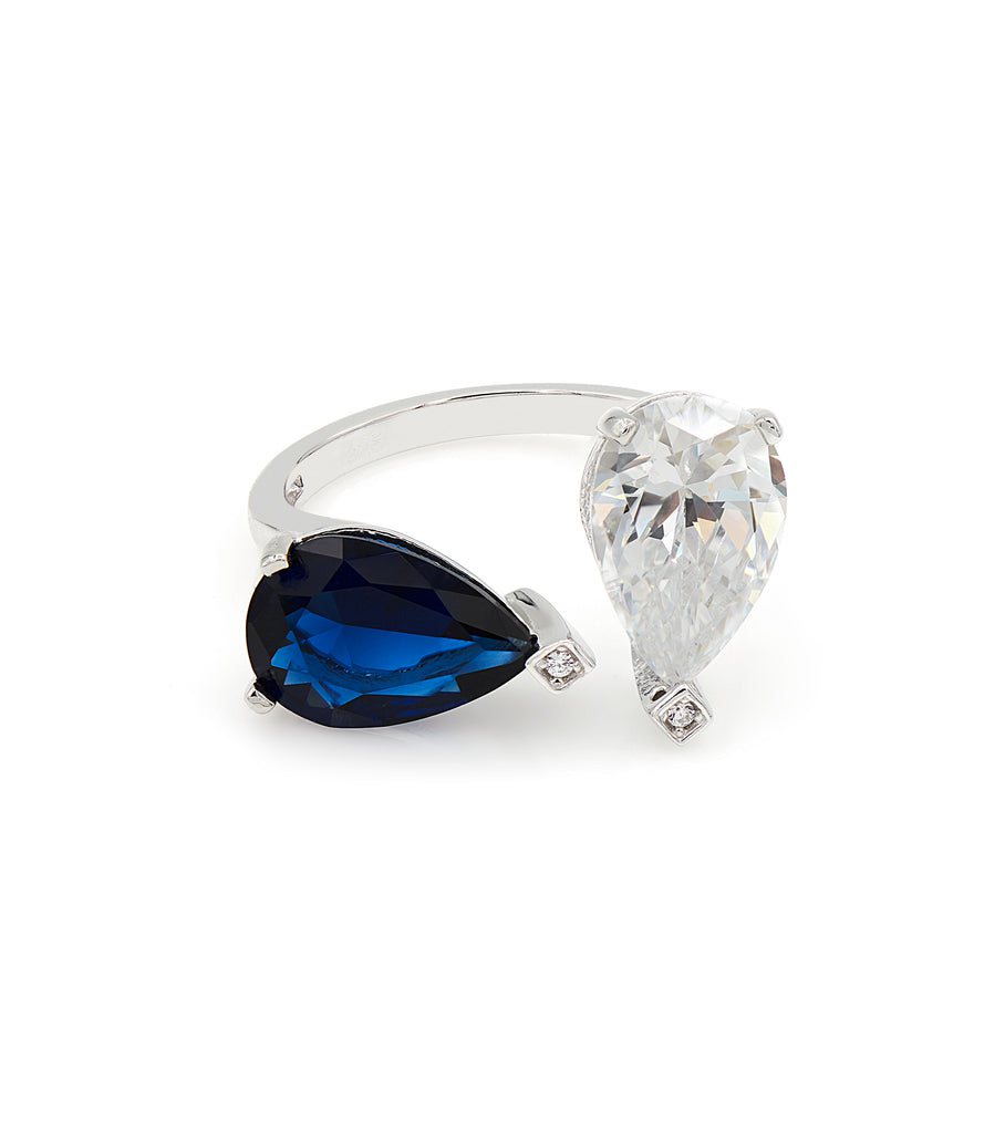 Drop Shape Dark Blue Stone with CZ Ring