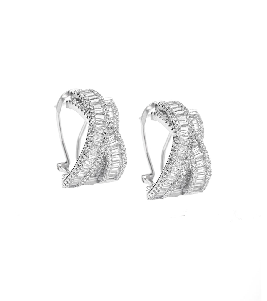 Frame Baguette Crossover Semi Hoop Earrings