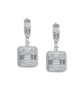 Square Halos Dangle Earrings