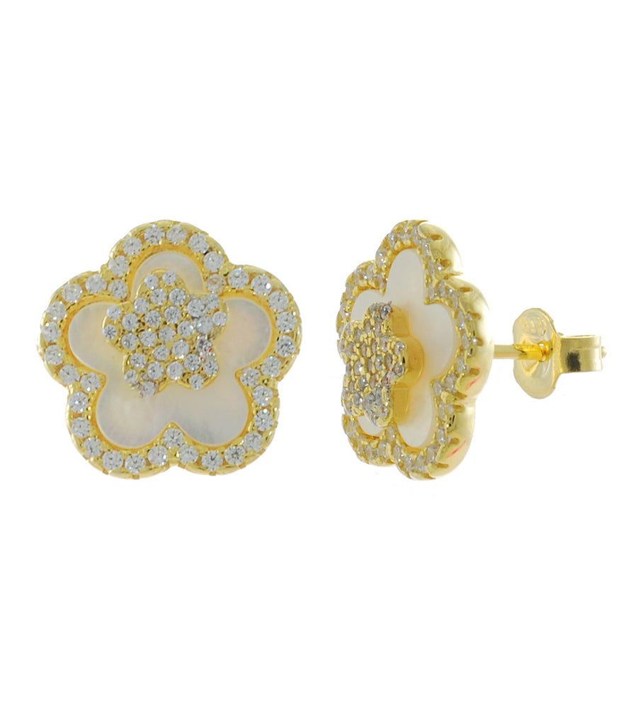 Flower Mother of Pearl Stud Earring