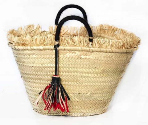 Straw Bag with Tassels