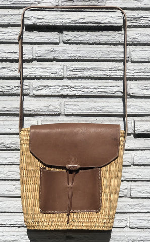 Straw and Leather Bag