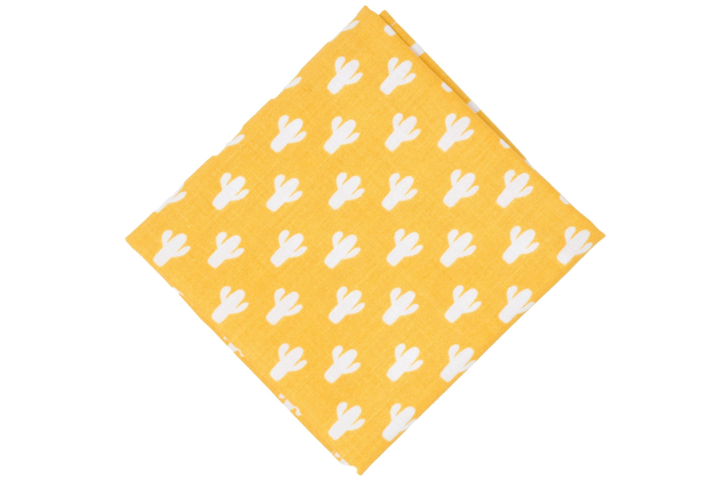 Yellow Cactus Pocket Square - Momako Designs