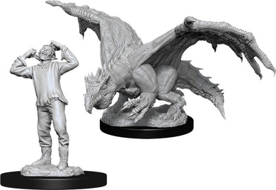 Dungeons & Dragons Nolzur`s Marvelous Unpainted Miniatures: W11 Green Dragon Wyrmling & Afflicted Elf - Linebreakers