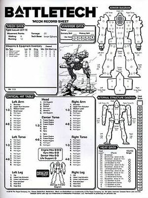BATTLETECH: TACTICAL RECORD SHEETS CLAN AND INNERSPHERE